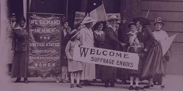 Suffrage envoys from San Francisco greeted in New Jersey on their way to Washington to present a petition to Congress containing more than 500,000 signatures. New Jersey United States, 1915. [Nov.-Dec] Photograph. https://www.loc.gov/item/mnwp000422/.