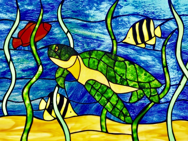 Handcrafted Stain Glass Sea Turtle