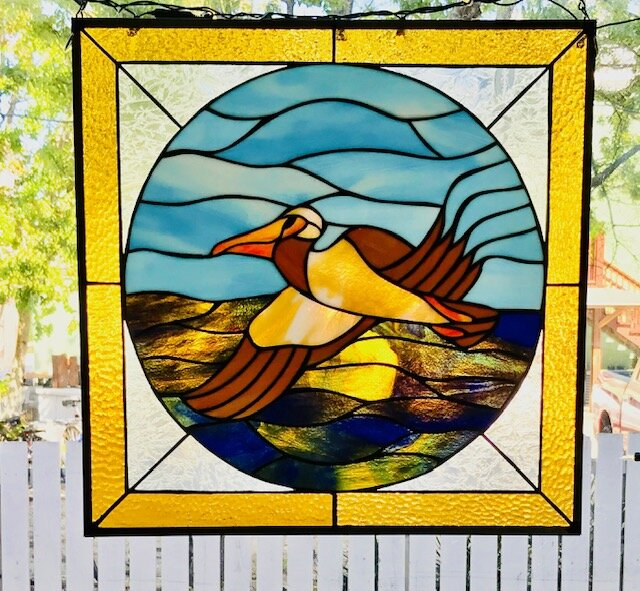 Handcrafted Stained Glass Pelican