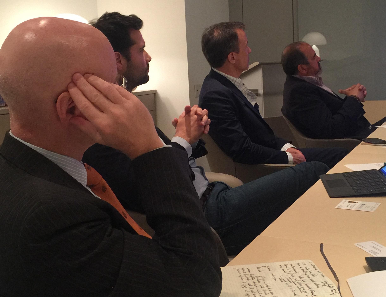 Pictured: Be Original Americas board members Federico Materazzi (Poltrona Frau Group), Antoine Roset (Ligne Roset), Cliff Goldman (Carnegie Fabrics), and John Edelman (Design Within Reach)