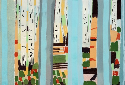 Birch Tree Copse, 10-2016, gouache, 18 x 26 cm