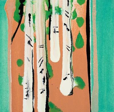 Birch Tree Copse 6, 2016, acrylic on canvas, 20.3 x 20.3 cm