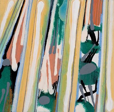 Birch Tree Copse 10, 2016, acrylic on canvas, 20.3 x 20.3 cm