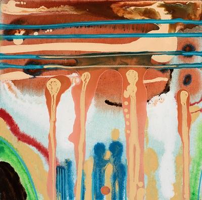 Birch Tree Copse 12, 2016, acrylic on canvas, 20.3 x 20.3 cm