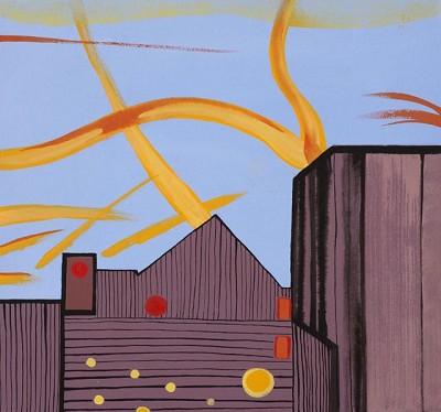 Goldhawk Evening (145), acrylic on canvas, 42 x 45 cm, 2014