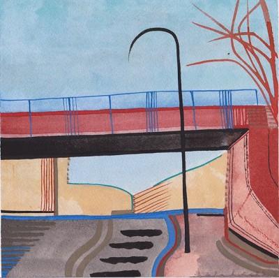 Red Bridge (2), gouache, 18 cx 18.25 cm