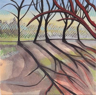 Trees And Shadows (13), gouache, 18 x 18.25 cm
