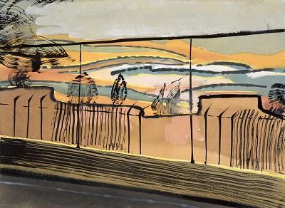 Scrubs Lane Sunset (3), gouache, 23 x 31cm, 2016