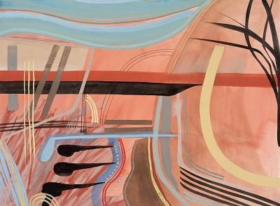 Bridge on Venetian Red (48), gouache, 56 x 76 cm, 2015