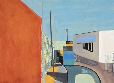 Car Giant Orange and Blue (19), gouache, 23 x 31 cm, 2016