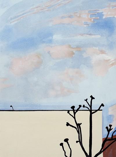 Plane Tree Anley Road (13), gouache, 31 x 23 cm, 2016