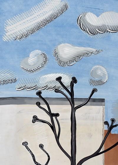 Plane Tree Anley Road (26), gouache, 75 x 55 cm, 2016