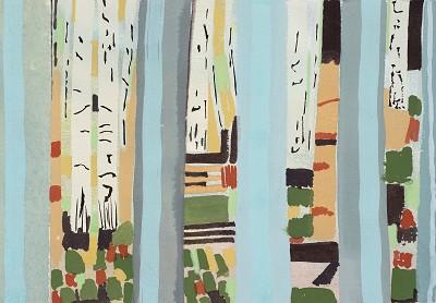 Old Oak Birch Trees (10), gouache, 18 x 26 cm, 2016