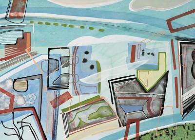 Blue Green Complex (58), gouache, 56 x 76 cm, 2015