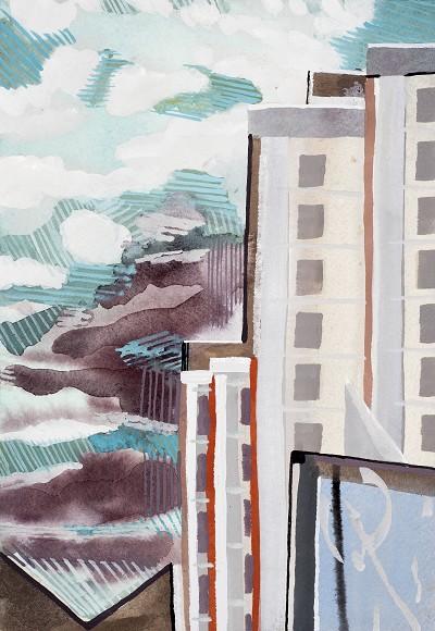 Sky and Tower Block (34), gouache, 26 x 18 cm, 2015