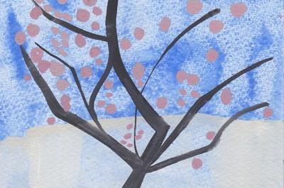London Cherries (180), gouache, 10 x 15 cm, 2013