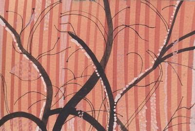 Branches on orange (187), gouache, 10 x 15 cm, 2013