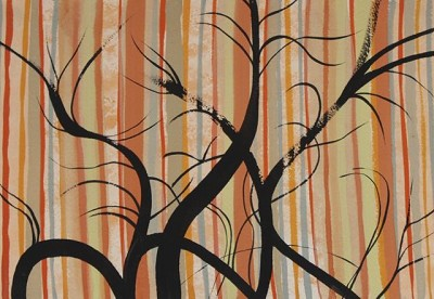 London Trees on Orange (42), gouache, 17 x 25 cm, 2014