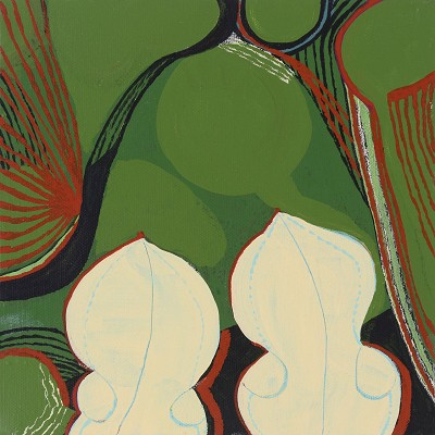 Utricularia Reniformis  / Lily Pond Leaves, acrylic on canvas,  20 x 20 cm, 2012