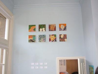 8 small acrylics 20 x 20 cm