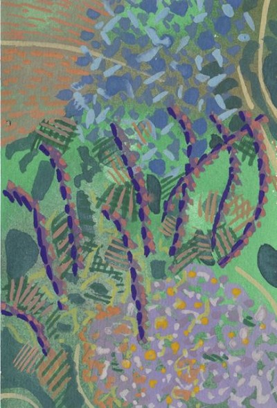 Asters and sea hollies in the  Wild Garden-Merton Borders, gouache on paper, 6x4, 2012.jpg