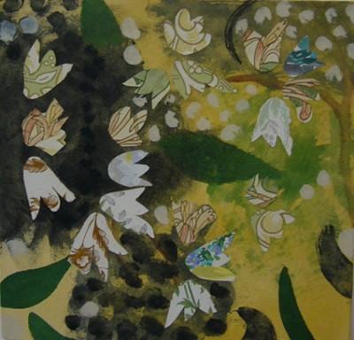 Deutzia, mixed media on canvas, 36 x 36 cm, 2007