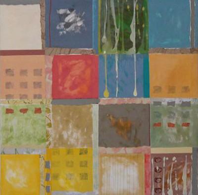 Squares, mixed media, 81 x 81cms, 2004