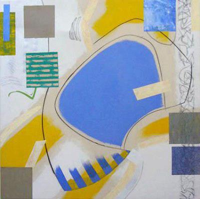 Blue Cream,mixed media on canvas, 107 x 107 cm, 1997