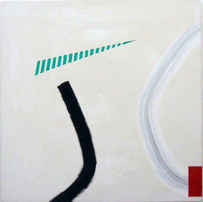 Black line, acrylic on canvas, 106 x 106 cm,1997