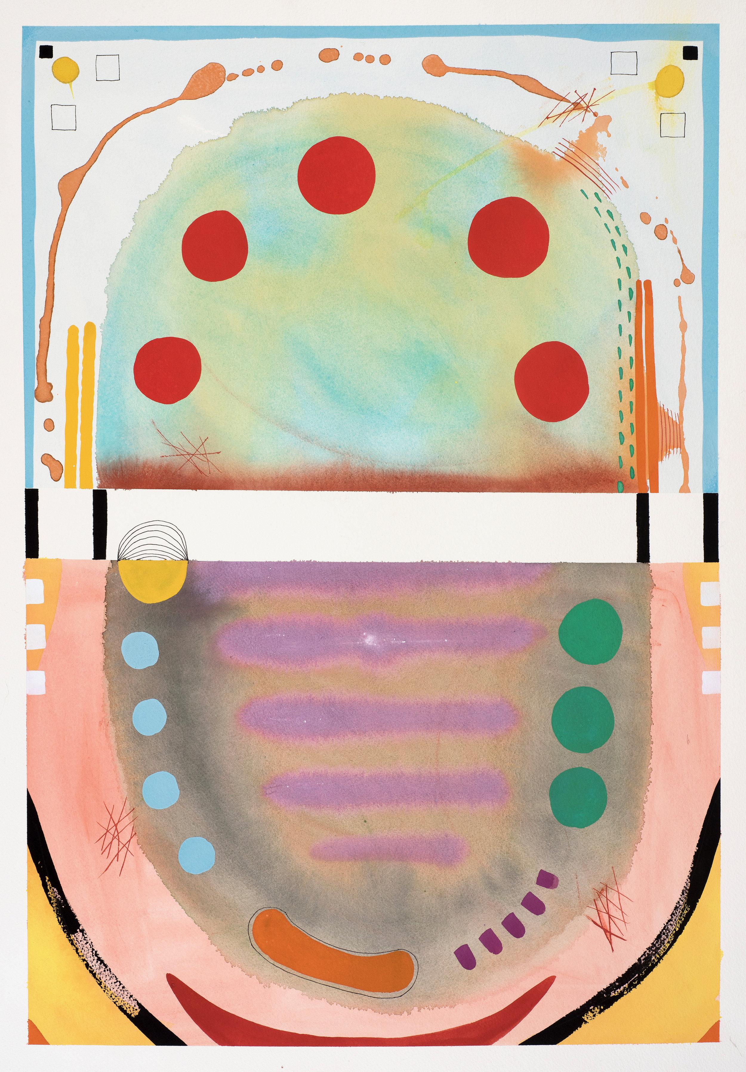 Contemplations 3, aqua & grey & red circles, gouache on paper, 78, 2019, 67.5 x 46 cm