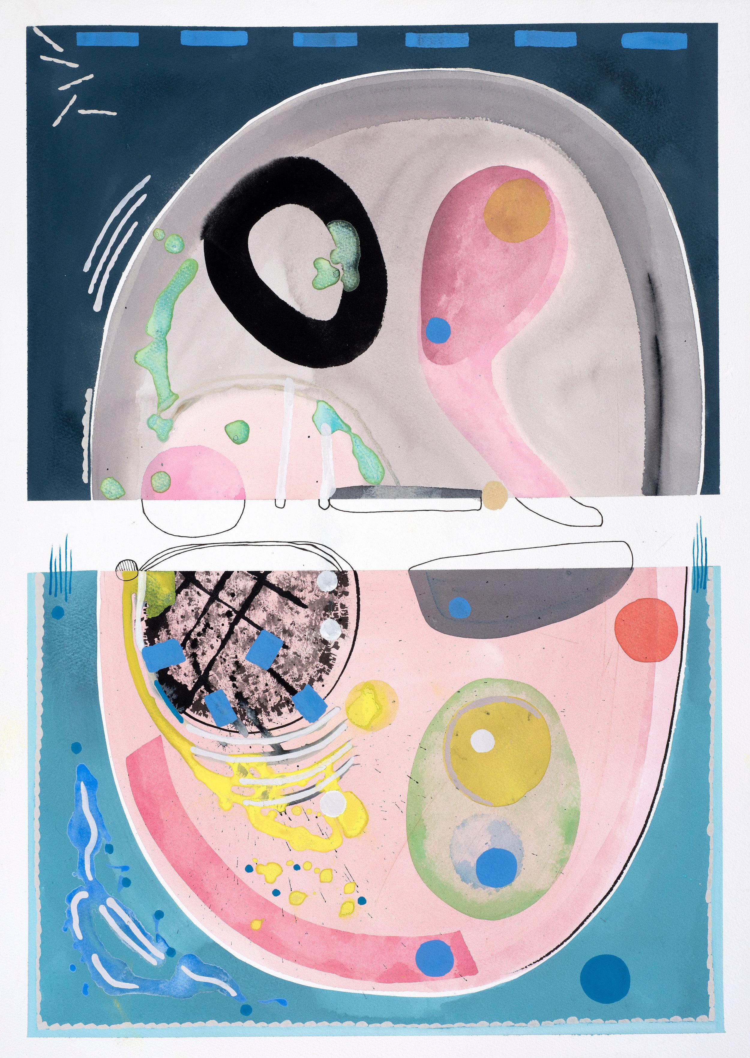 Contemplations 1, grey & pink, gouache on paper, 76, 2019, 67.5 x 46.5 cm