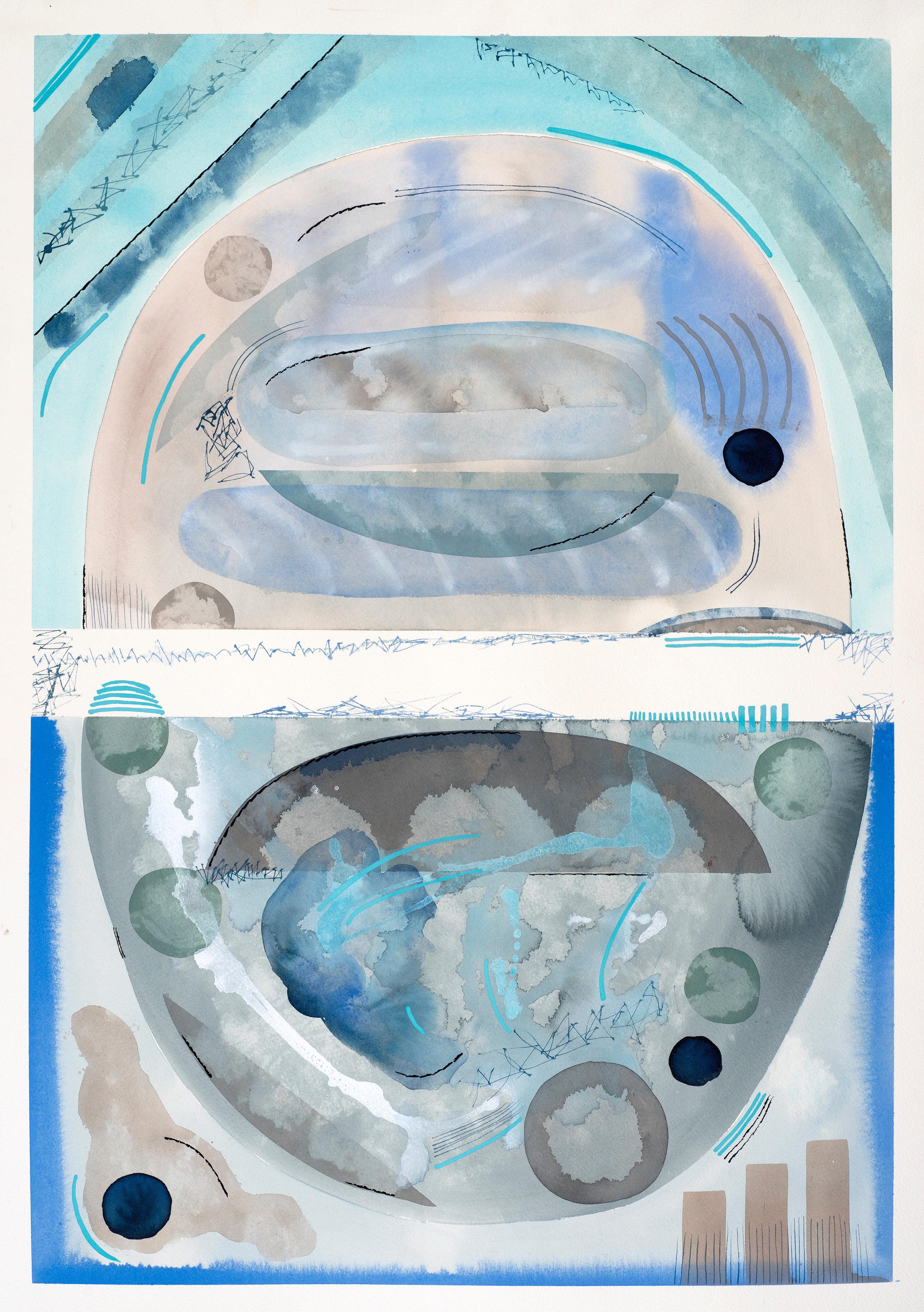 Contemplations 7, all the blues, gouache on paper, 83, 2019, 70 x 48.5 cm