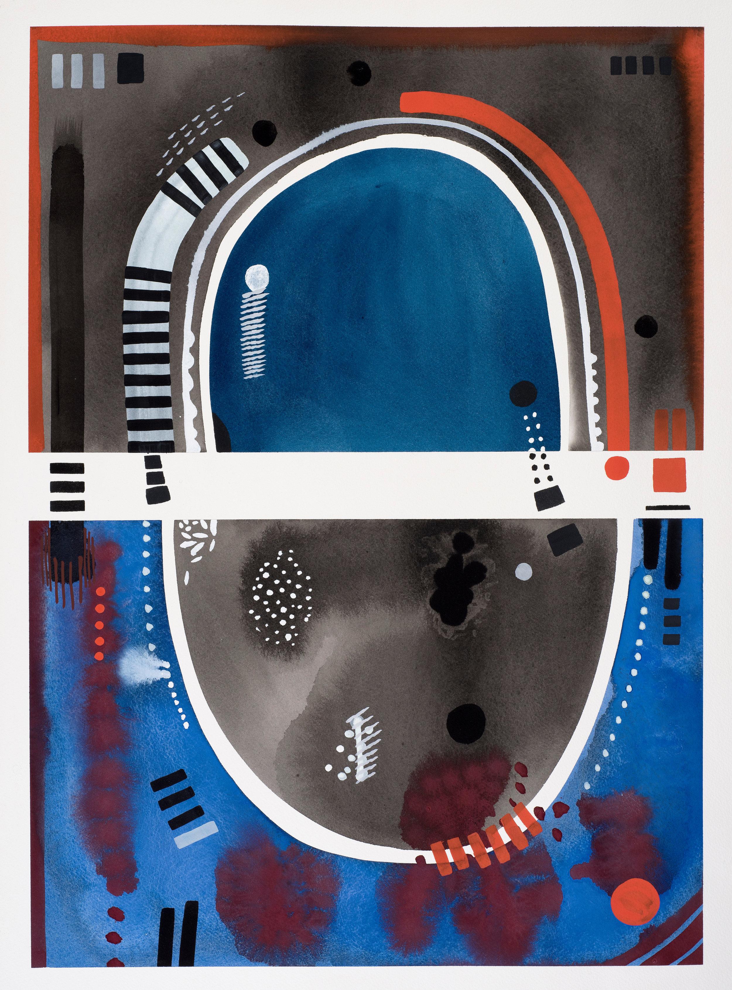 Contemplations 9 black & blue 9, gouache on paper, 85, 2019, 66 x 47 cm