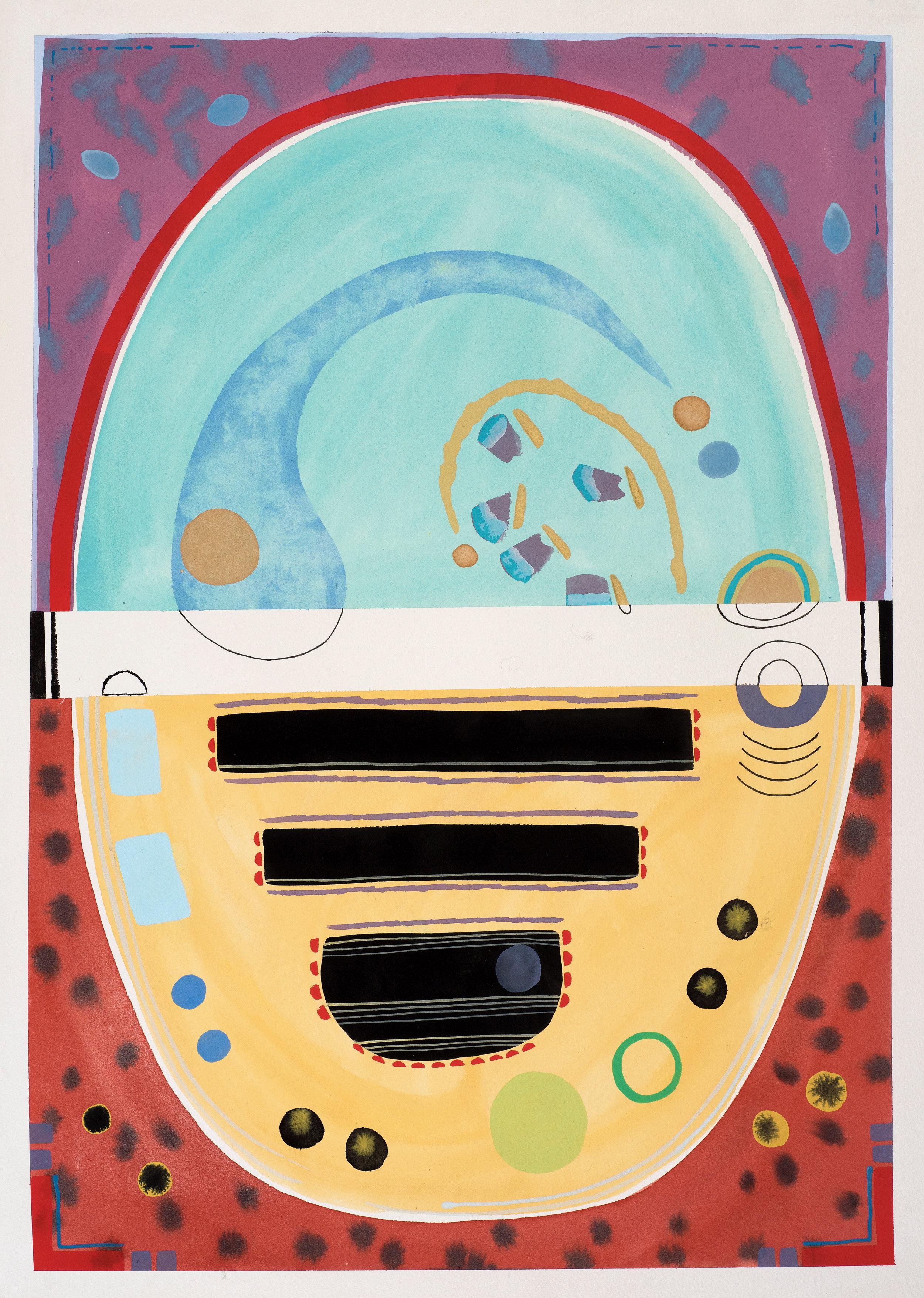 Contemplations 2, aqua & yellow, gouache on paper, 77, 2019, 68 x 47.5 cm