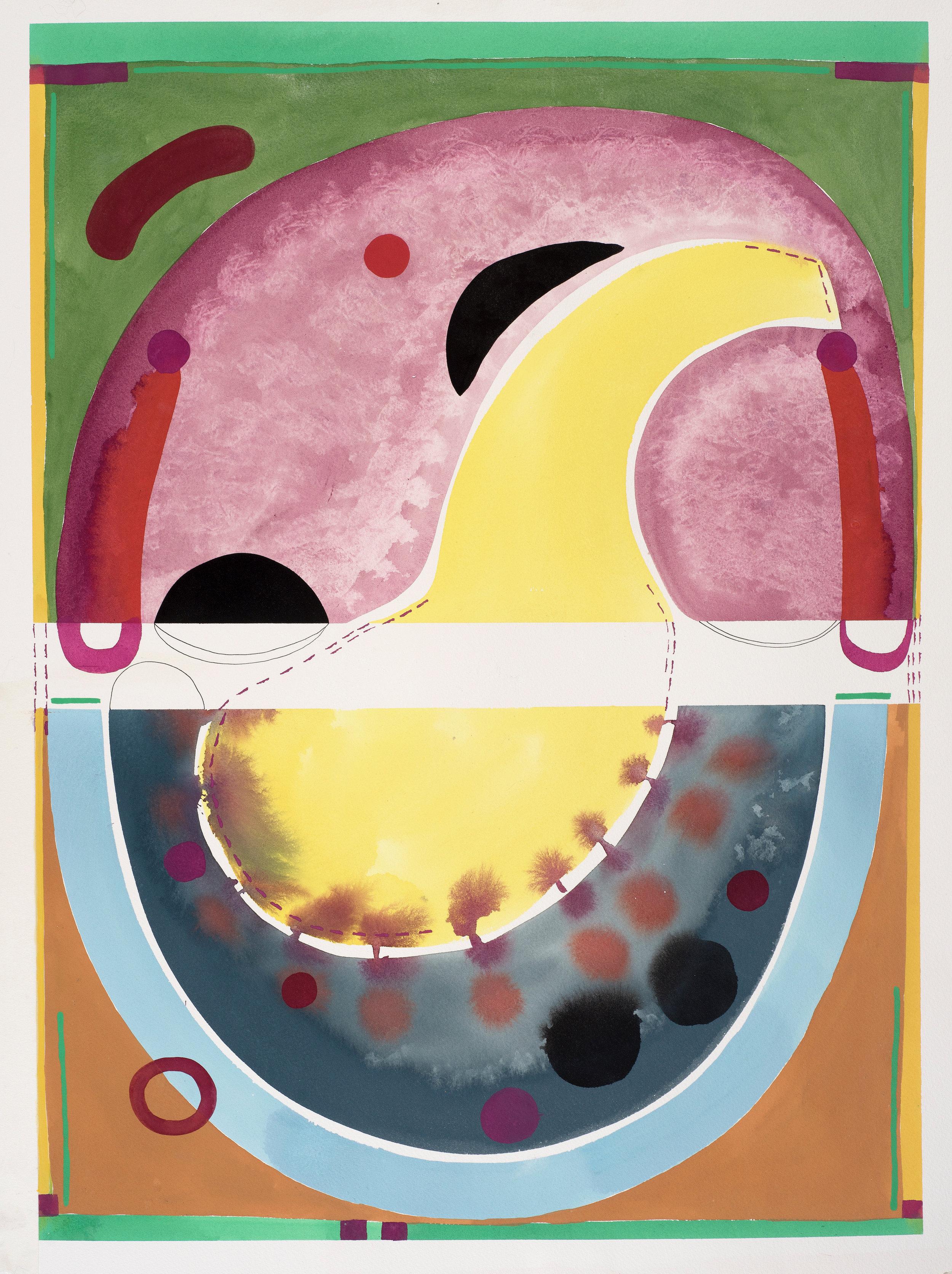 Contemplations 4, slate, maroon & lemon, gouache on paper, 80, 2019, 67.5 x 49 cm