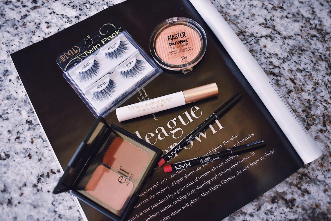 Drugstore beauty items, beauty, makeup, drugstore makeup, false lashes, blush, bronzer, lip liner, mascara primer, highlighter