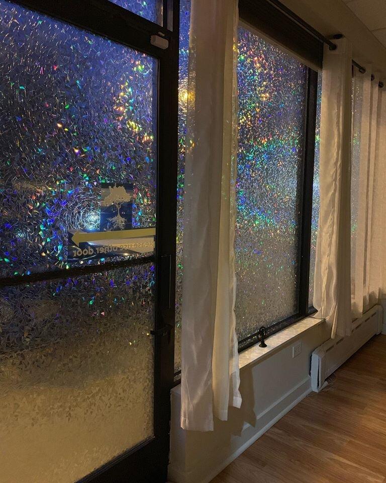 Yoga studio windows at night