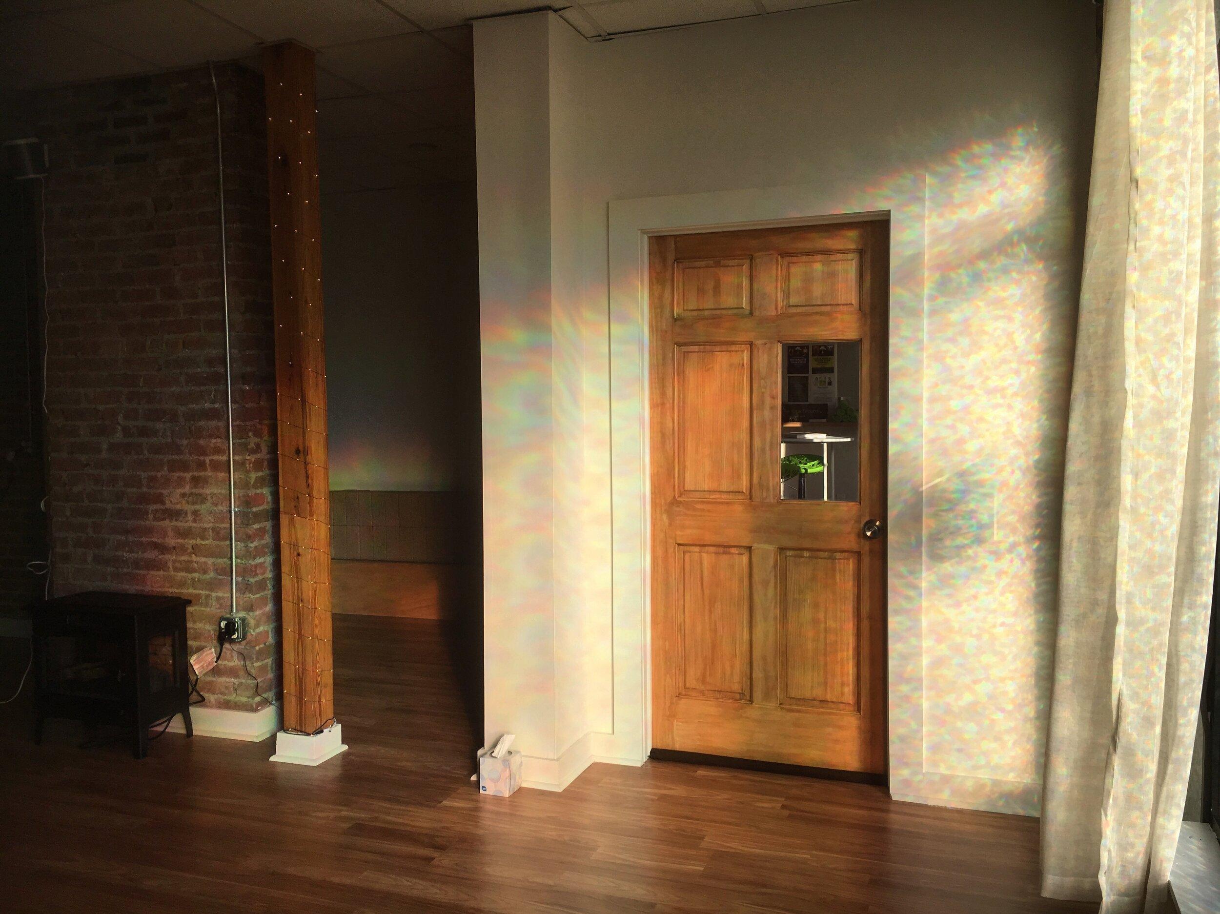 Yoga studio rainbow wall