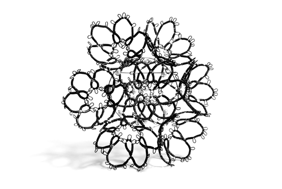 Sarah Holden,  Wire Lace Sample , Mild steel, freshwater pearls, 2016  Photo by Guy Nicol