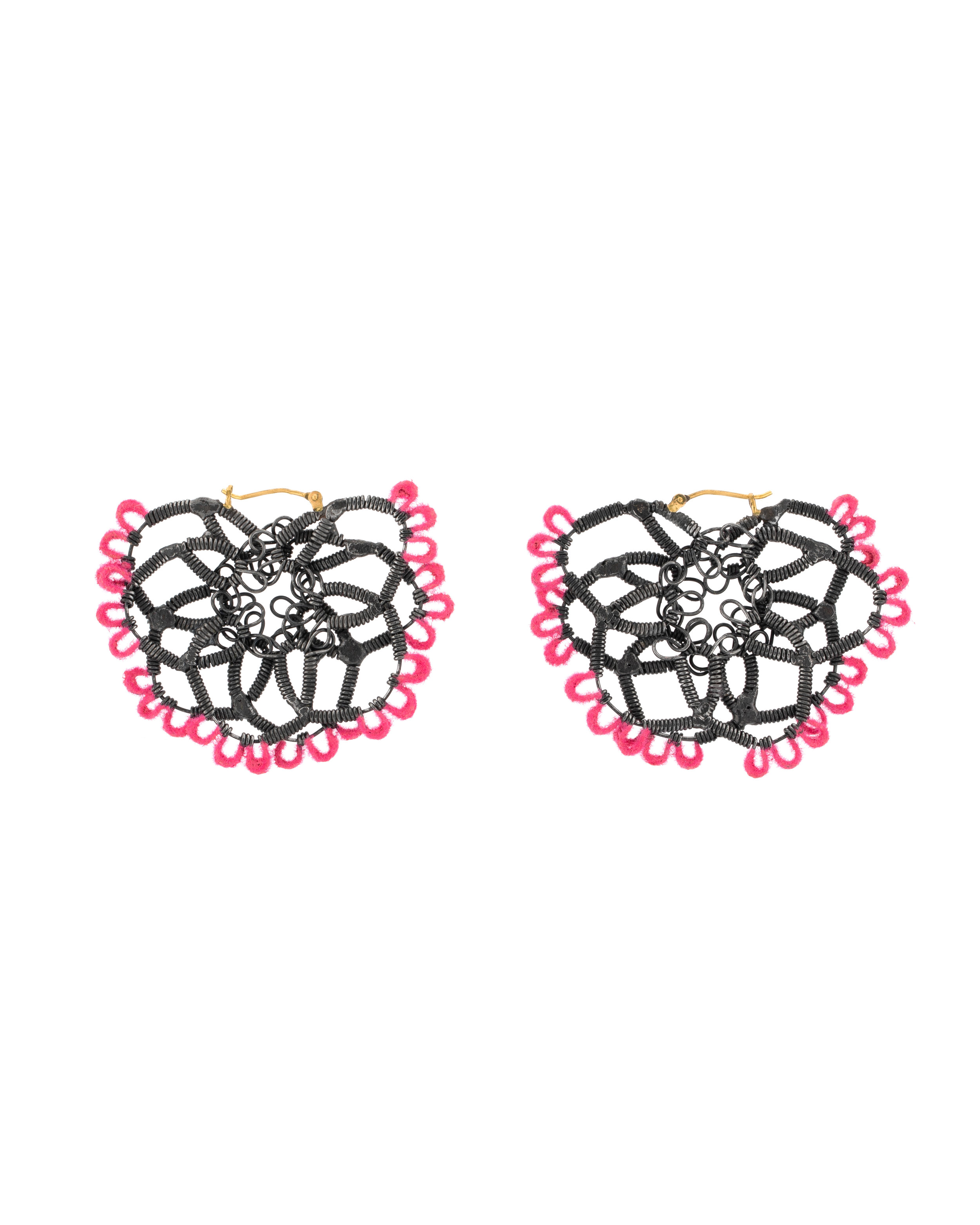 Sarah Holden,  Double Lace Mini Dangles in Pink , Mild steel, velvet flocking, 2018  Photo by Jocelyn Negron