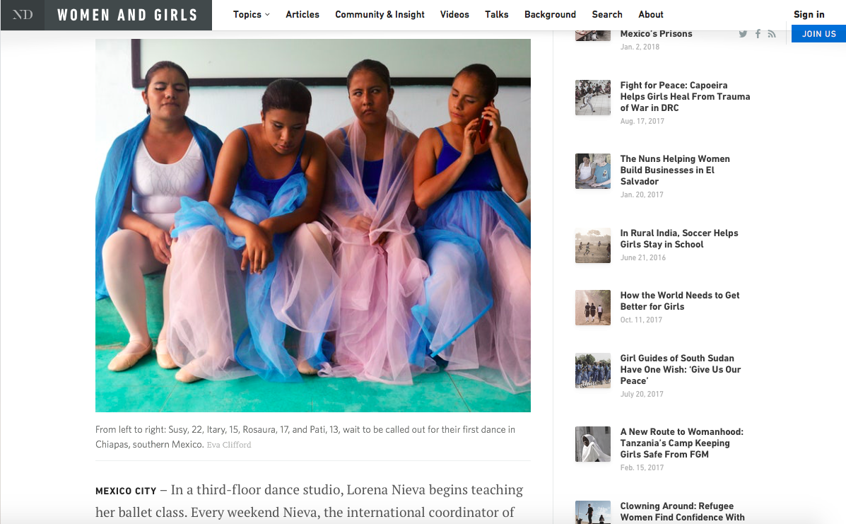 ' Dancing in the Dark: Ballet for the Blind in Mexico ' ( News Deeply : Women & Girls Hub, Aug 2016)