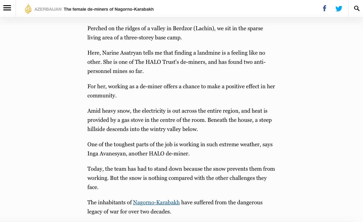 ' The female de-miners of Nagorno-Karabakh ' ( Al Jazeera , Mar 2018)