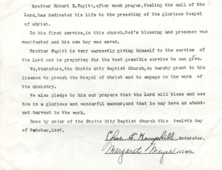 Original Church Minutes from October 12, 1947