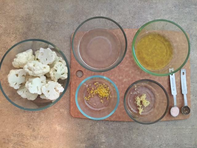 Lemon Garlic Roasted Cauliflower Ingredients.