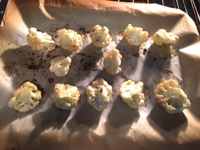 Lemon Garlic Roasted Cauliflower Recipe, roasting on cookie sheet.