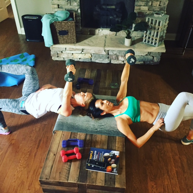 Autumn and Calie Calabrese working out together.