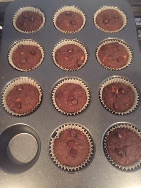 Baked Vegan Chocolatey Zucchini Muffins