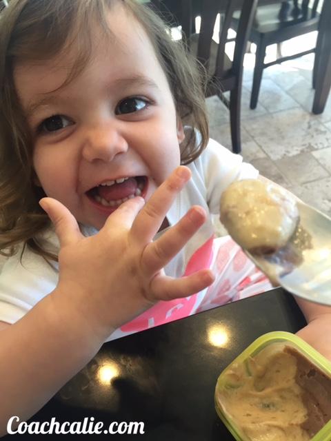 Child eating Banana Pudding
