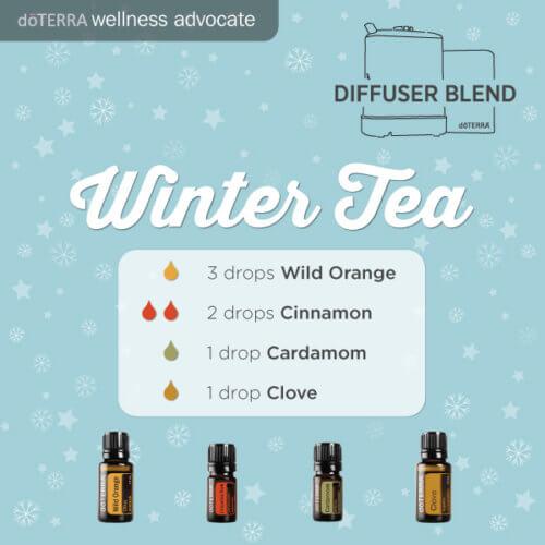 Diffuser Blend Recipe - Winter Tea. Includes Wild Orange, Cinnamon, Cardamon, and Clove.