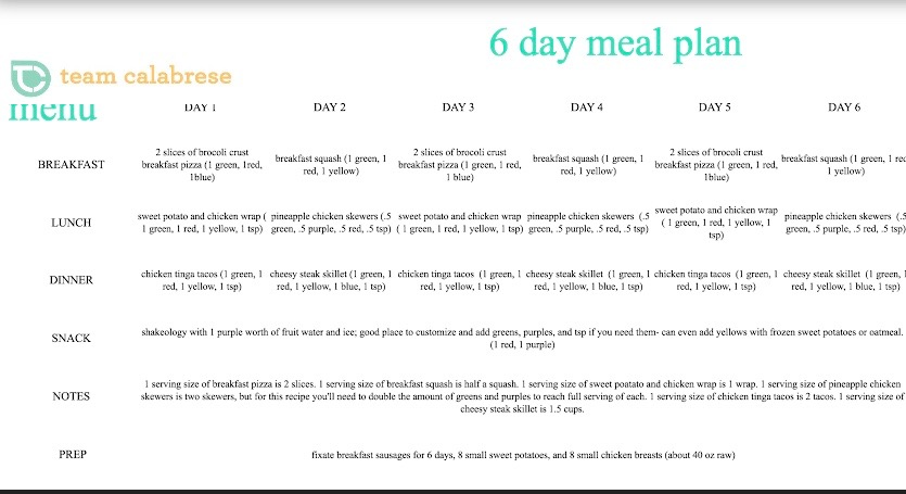 Team Calabrese LIIFT4 6 Day Meal Plan and Clean Eating Calendar.